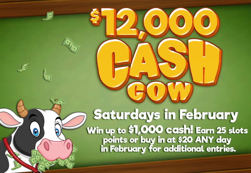 Image advertising the $12,000 Cash Cow Drawings, Saturdays in February