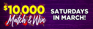 Image of the $10,000 MATCH AND WIN promotion at Tulalip Bingo