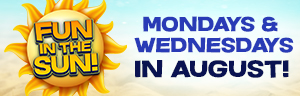 At Tulalip Bingo & Slots just north of Bellevue near Marysville, WA on I-5 enter Fun in the Sun drawings on every Monday and Wednesday in August!