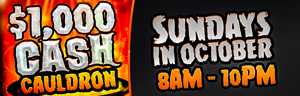 Play slots at Tulalip Bingo & Slots just north of Edmonds near Marysville on I-5 and enter the Cash Cauldron every Sunday in October!
