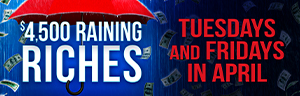 Tulalip Bingo - $4,500 Raining Riches Hot Seat Drawings Tuesdys and Fridays in April. It's pouring cash! Win up to $500! Two winners will be selected during each half-time session to pocket cash prizes.
