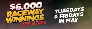 At Tulalip Bingo & Slots north of Lynnwood and Kirkland on I-5 buy in to enter the $6,000 Raceway Winnings hot seat drawings Tuesdays and Fridays in May!