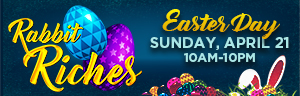 Play slots at Tulalip Bingo & Slots just north of Edmonds and Everett on I-5, and enter Rabbit Riches for Free Play on Sunday, April 21!
