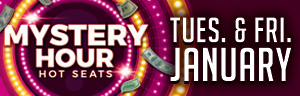 Play slots at Tulalip Bingo & Slots near Everett, WA on I-5 on Tuesdays and Fridays in January for a chance every hour to win $50 in free play!