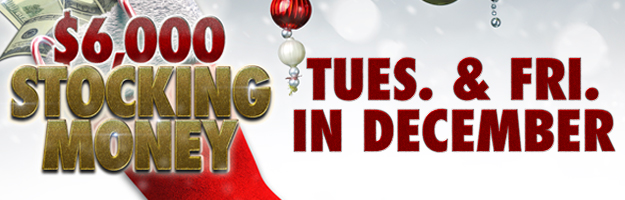 At Tulalip Bingo & Slots just north of Seattle near Everett, WA on I-5 enter the $6,000 Stocking Money Hot Seat Drawing on Tuesdays and Fridays in December!